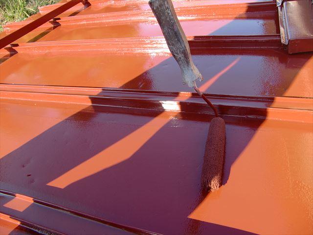 住宅屋根戸塗装工事 上塗り