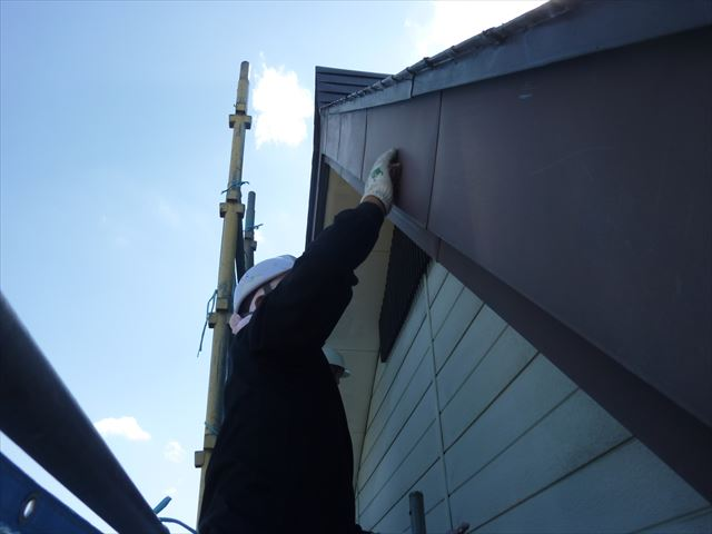 外壁工事 破風板ケレン工事